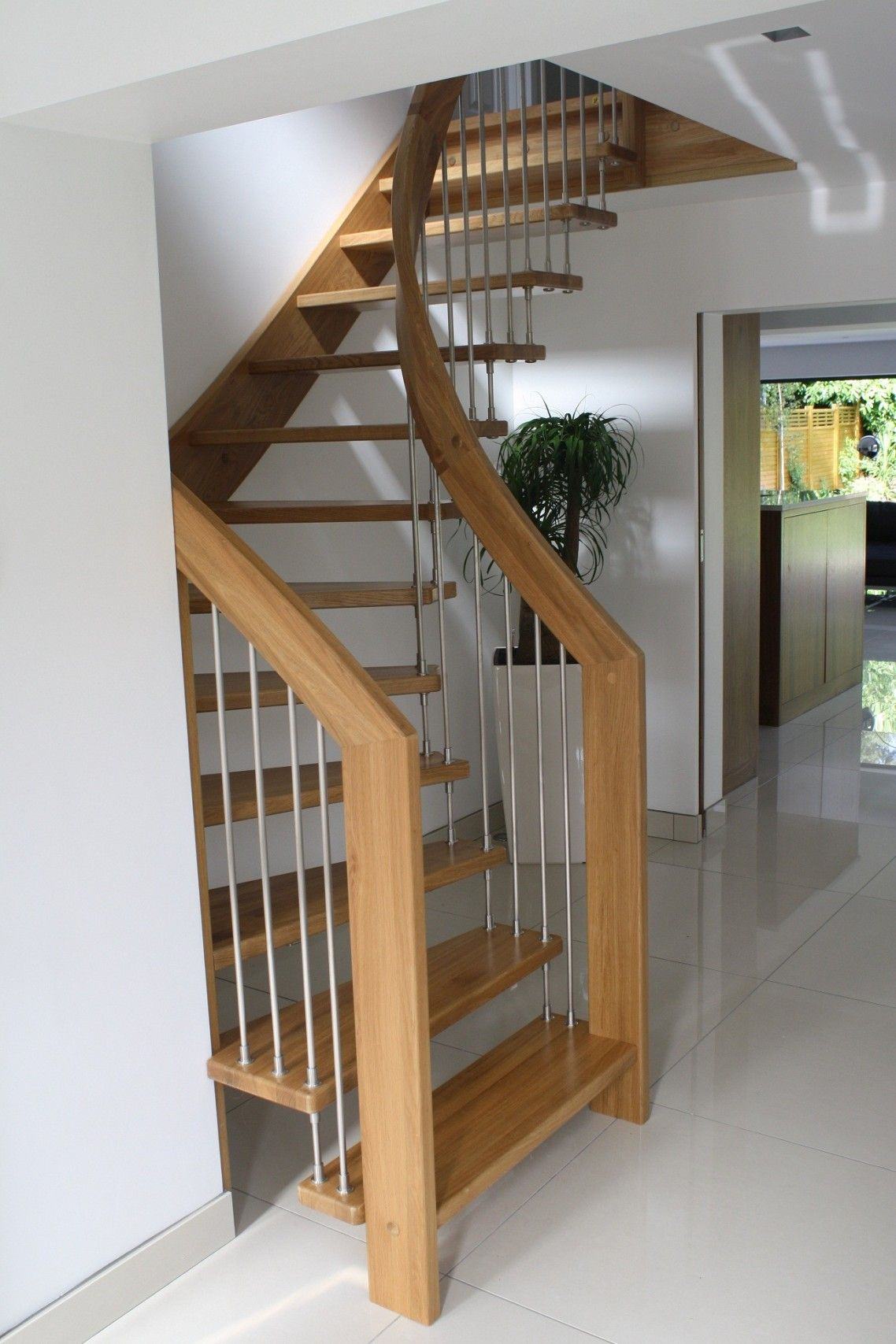 Alluring Design Ideas Of Small Space Staircase With Brown Wooden Treads And Handrails Also Stainle Small Space Staircase Small Staircase Space Saving Staircase