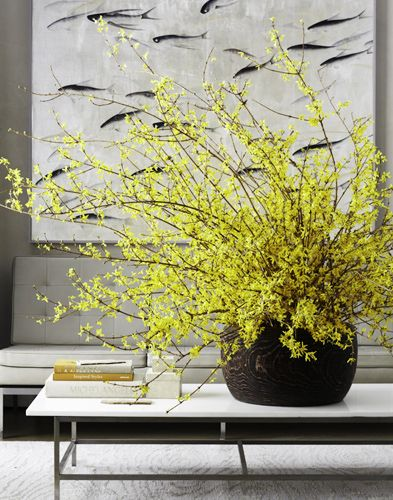 Love these oversized branches on the coffee table.