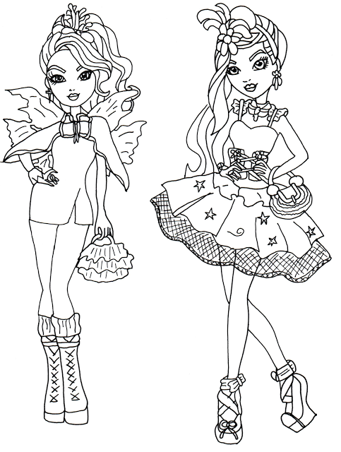 Free Printable Ever After High Coloring Pages Faybelle Thorn And Duchess Swan Page