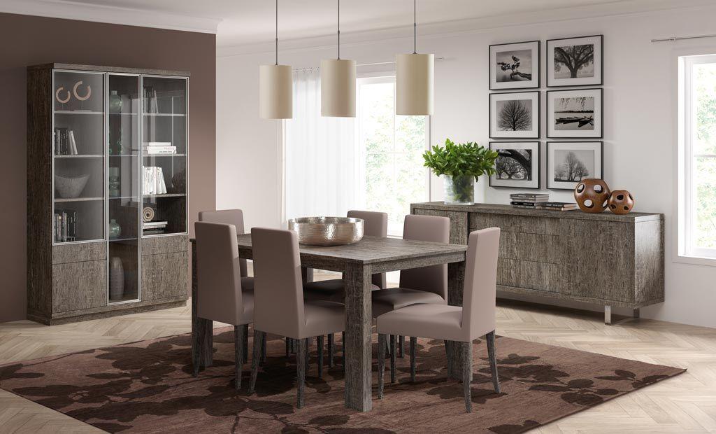 Comedor con aparador vitrina y mesa de comedor extensible
