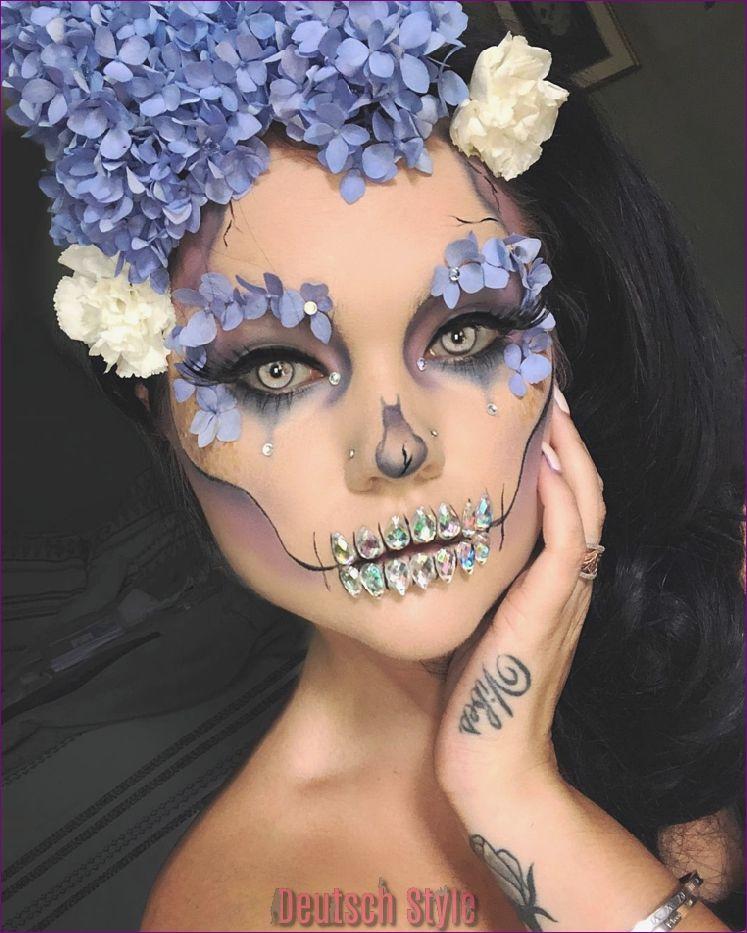 Halloween Schminke Deutsch.Tag Der Toten Schminke Ideen In Fotos Und Video Tutorials Deutsch Style Fantasy Make Up Skelett Make Up Schminken Halloween