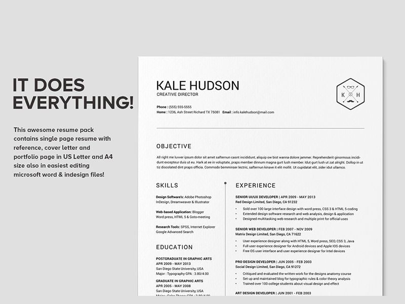 Clean Resume CV - Hudson | Work | Pinterest | Resume styles, Cv ...