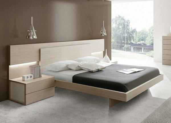 grand chêne de lit brun clair de couleur neutre camas con estilo - recamaras de madera modernas