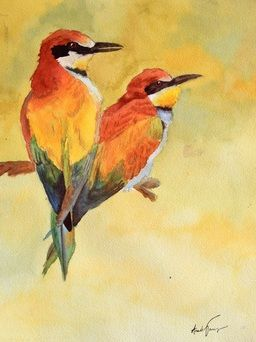 16x12 watercolor birds