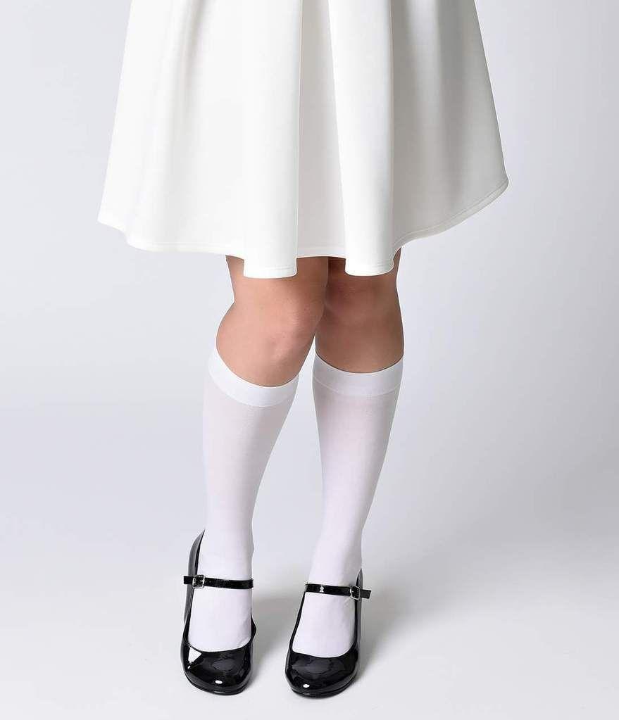 4134af1cfd8 White Nylon Knee Highs in 2019
