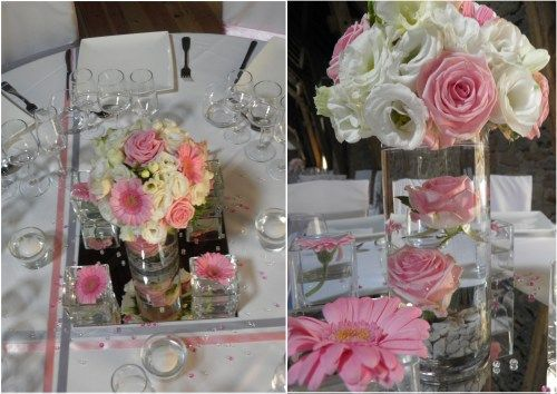 Centre de table mariage rose et vert google search - Decoration de table mariage ...