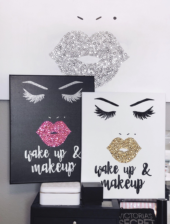 Wakeup And Makeup Wall Art Canvas Decor Gift Makeup Print Makeup Quote Makeup Gift Gift For Her Vanit Makeup Wall Art Canvas Art Quotes Trendy Wall Art