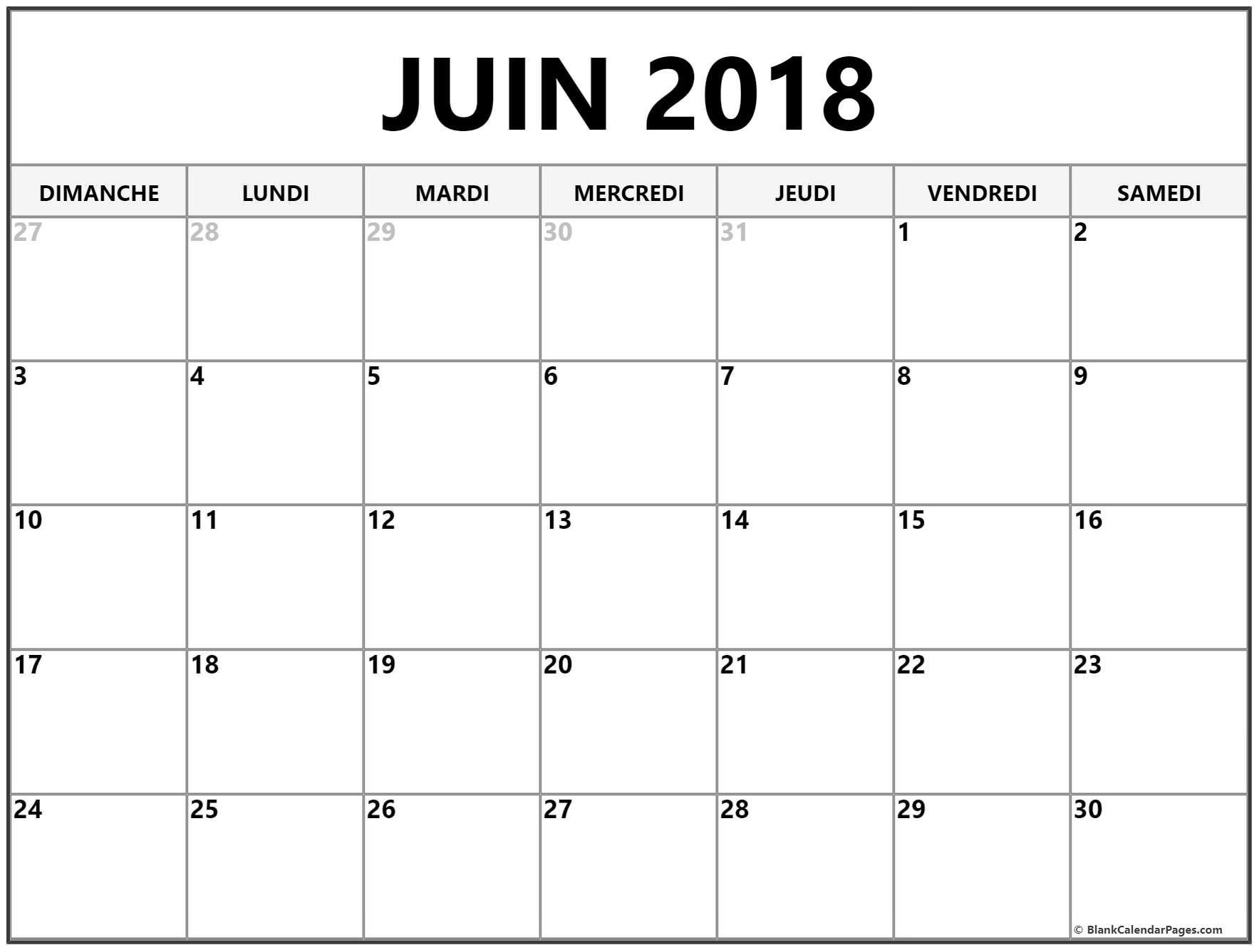 Calendrier Juin 2020 à Imprimer.Juin 2018 Calendrier Gratuit Calendrier Imprimable