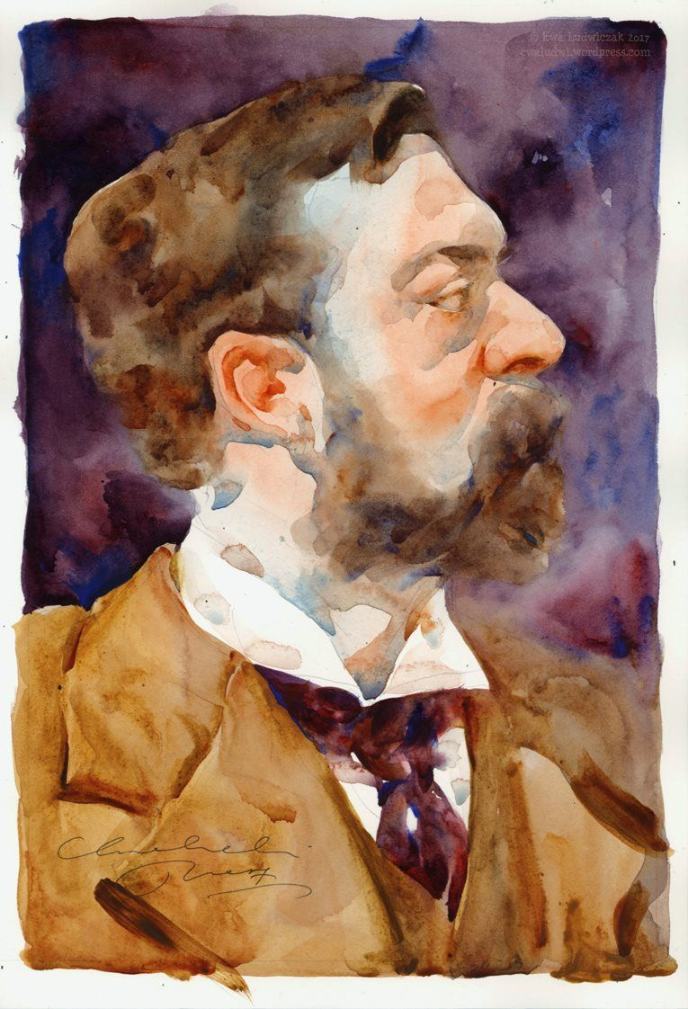 Ewa Ludwiczak Portrait Of John Singer Sargent Watercolor Canvas Watercolor Portraits Painting