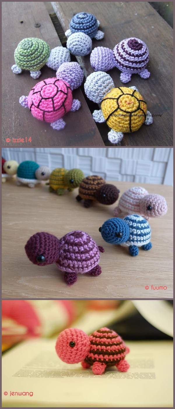 Tiny Stripes Turtles Free Crochet Pattern #crochetyarn
