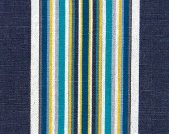 Modern Stripe Fabric Navy Teal Stripe Upholstery Fabric By The