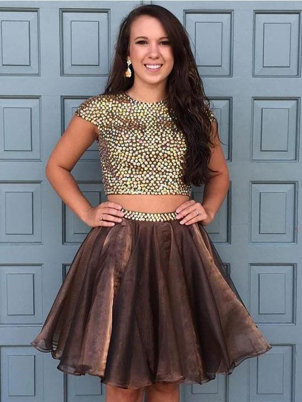 f1ecba46764 Brown Two Pieces Cap Sleeve Beaded Short Cheap Homecoming Dresses Online