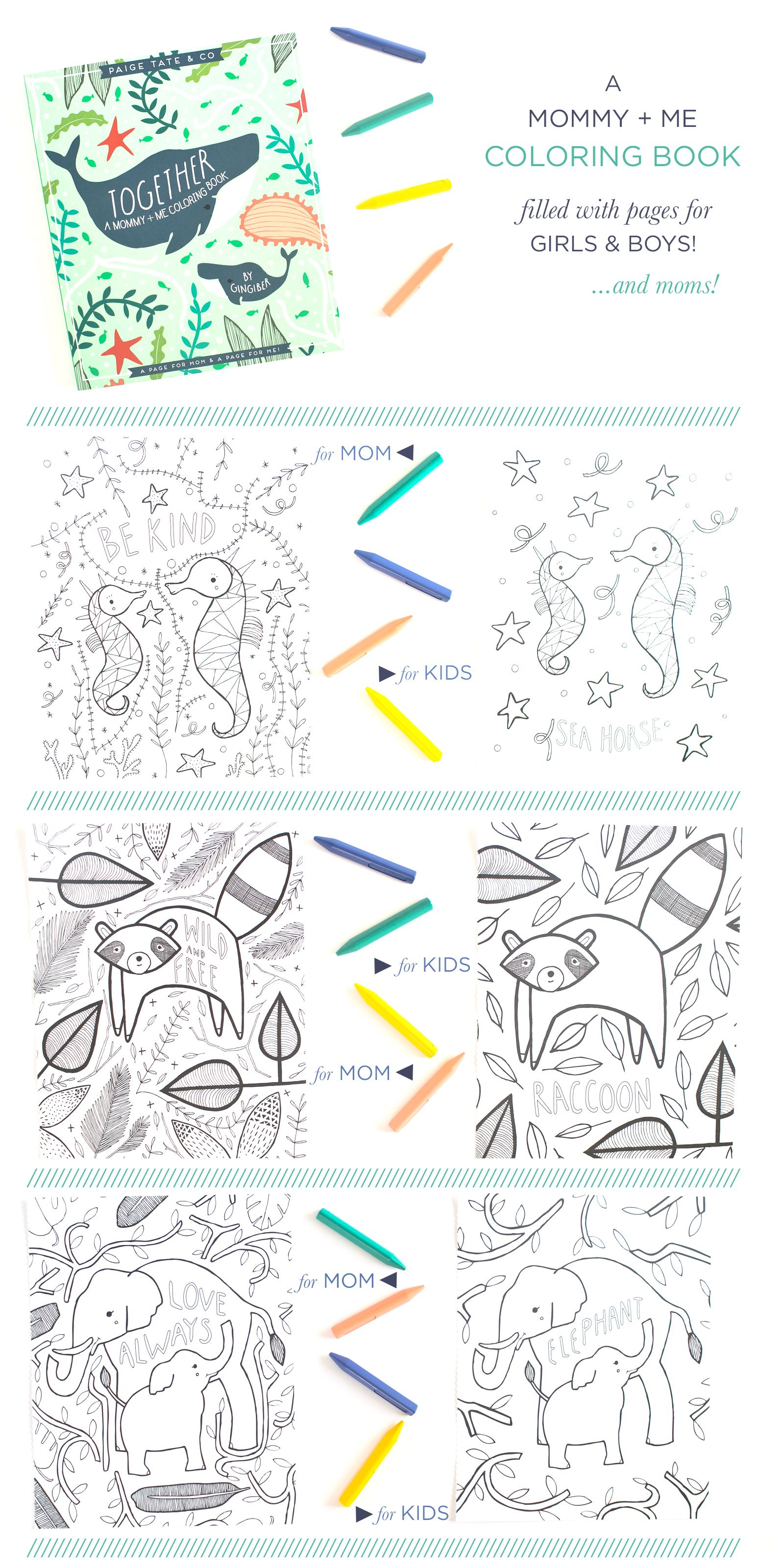 Mommy And Me Coloring Book By Stacie Of Gingiber Animal Snacks For