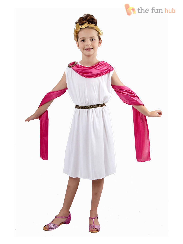 Child Roman Goddess Costume Greek Egyptian Toga Girls Fancy Dress Outfit New