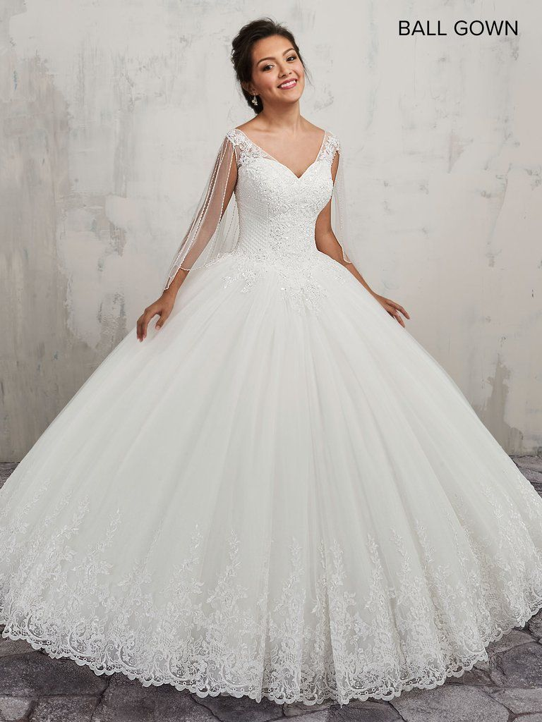 VNeck Lace Wedding Dress with Detachable Cape by Mary's