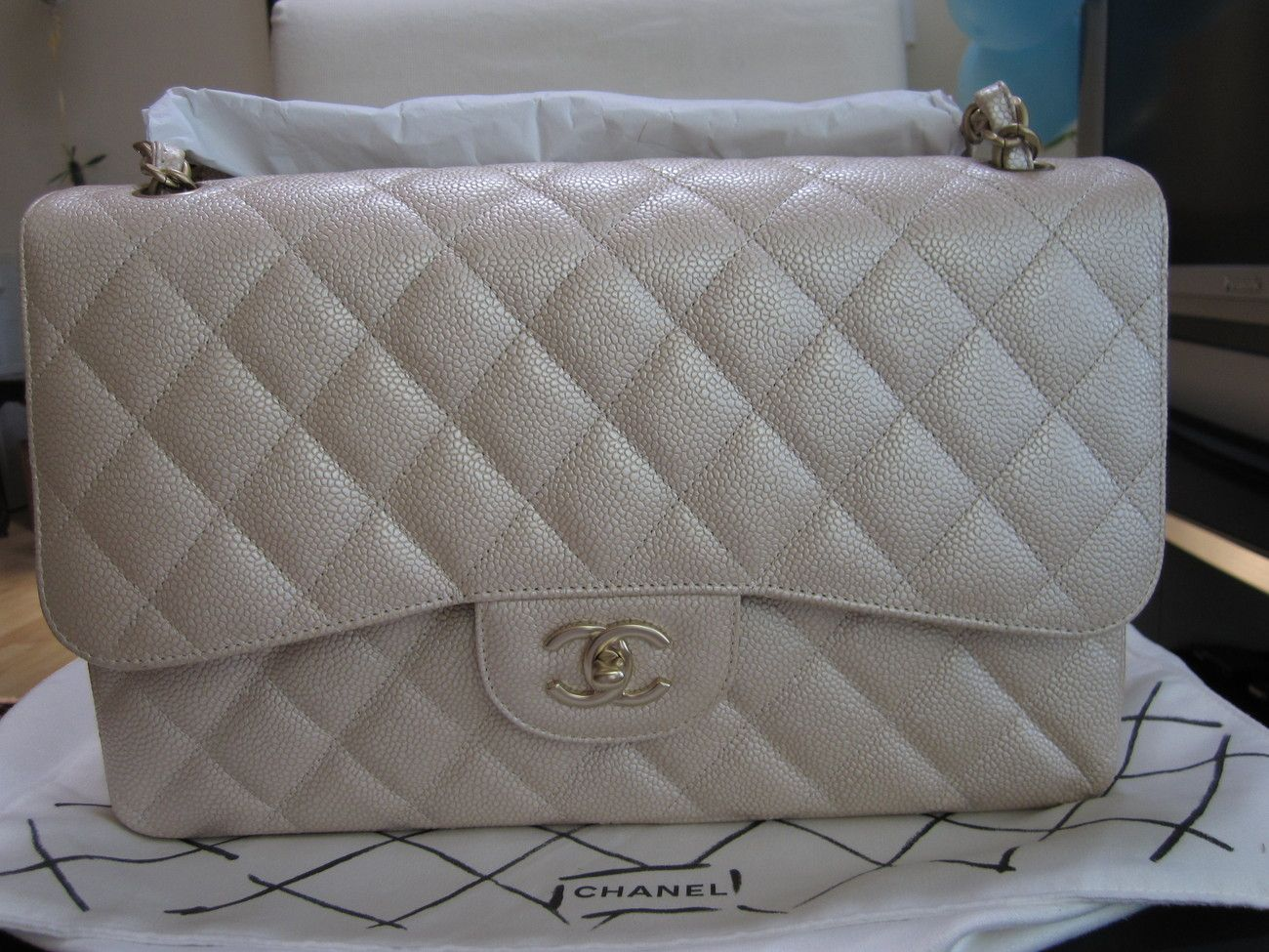 0718602c3 Brand New Chanel Pearly Beige Caviar Leather GHW 2012P Classic Jumbo Flap -  Handbags & Bags