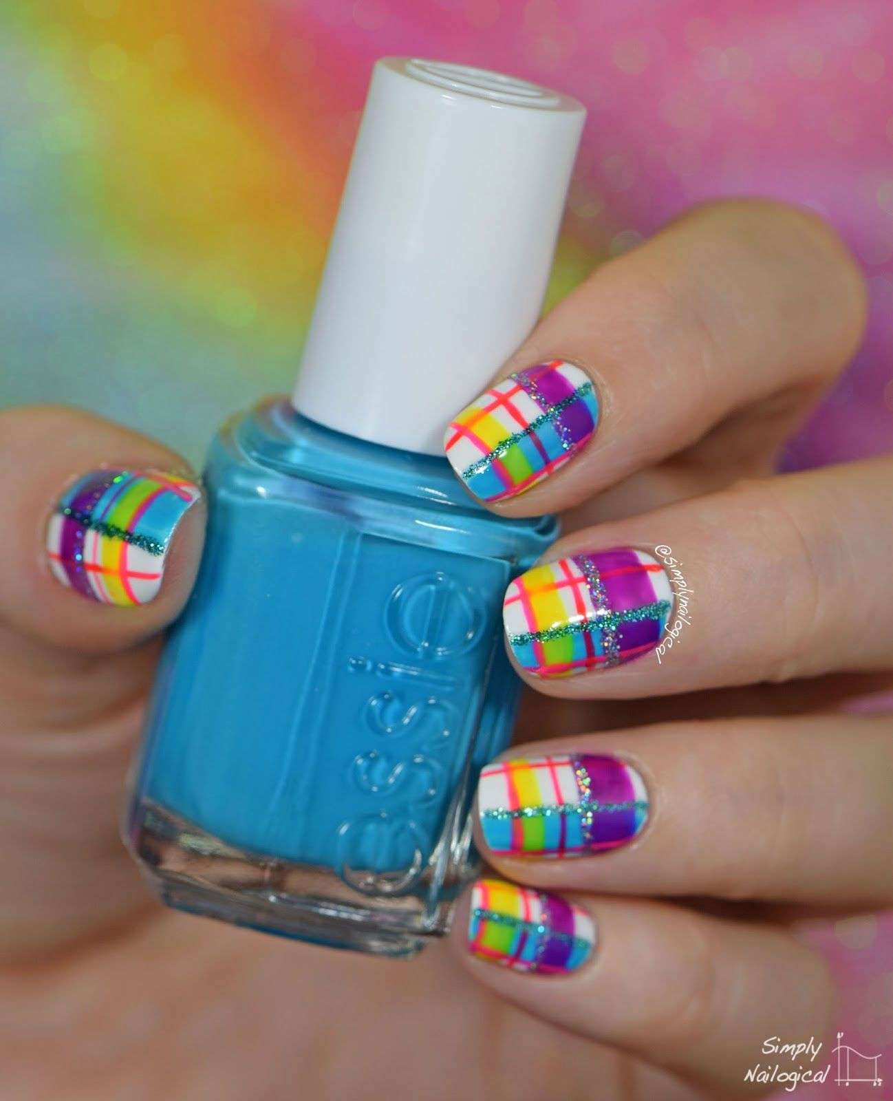Neon plaid re-creation mani | Taped/Striped/Geometric Nail Art 2 ...