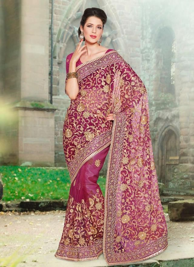 beautiful enmbrodiery designer saree