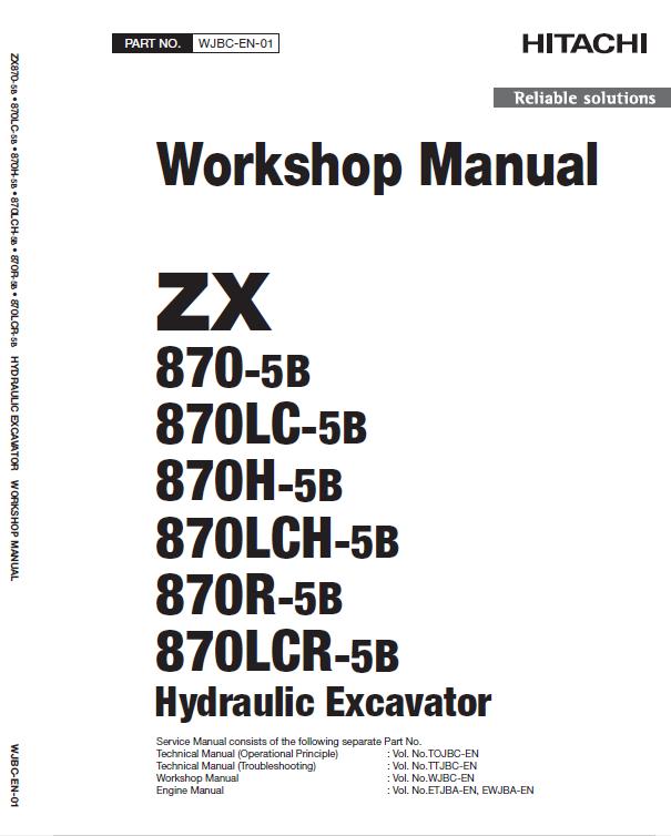 Hitachi Zx870 5b Excavator Service Manual Hitachi Excavator Manual