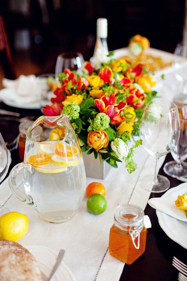 Love this Bright Centerpiece for a summer wedding! The Party Table 25 Entertaining Centerpiece & Dinner Party Table Setting Ideas | Centerpieces Bright and Table ...