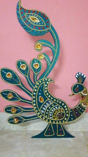 Mdf Board Peacocks In Green Combination Diwali Craft Decoration For Ganpati Crafts
