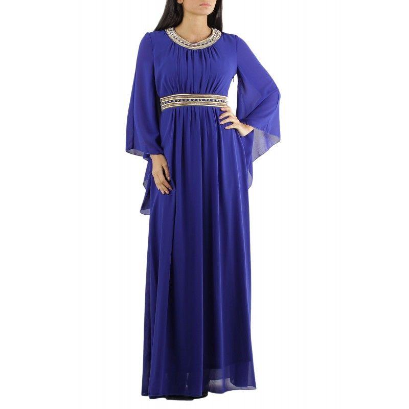 vestido largo de fiesta estilo griego con pedrería y manga larga ...