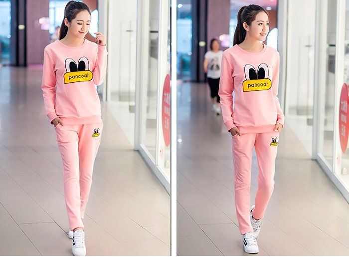CW59256 Eye long pants Casual hoodie 2pcs set for women