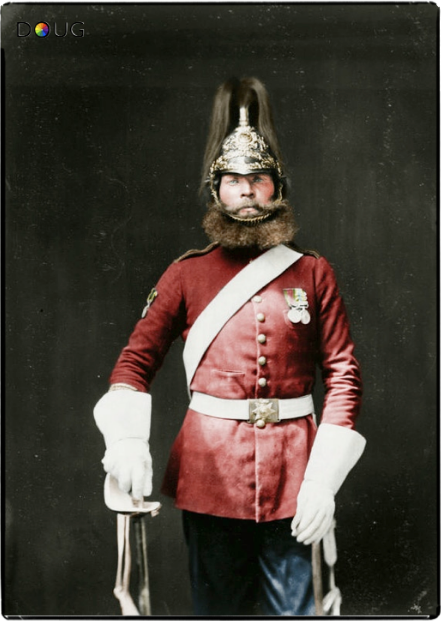 thelastofthewine:  bantarleton:  Heavy Brigade Rough-rider, Pte.Michael MacNamara, 5th (Princess Charlotte of Wales's) Dragoon Guards, one of the soldiers presented to HM Queen Victoria at Aldershot on their return from the Battle of Balaklava in the Crimea. July 1856.  *** Handsome history beard