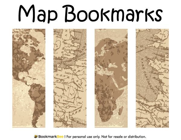 Resultado de imagen para printables hecho a mano handmade free printable map bookmarks in pdf format the template includes four different bookmark designs per page gumiabroncs Gallery