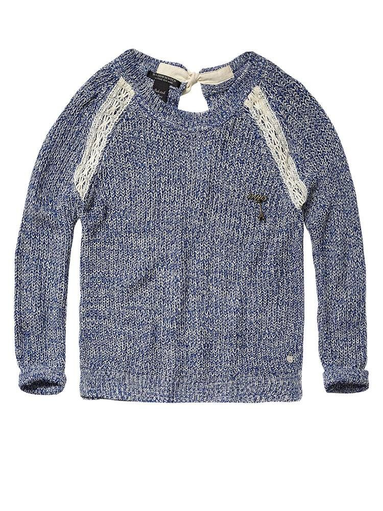 Colourful melange knit with lace inserts - Scotch & Soda