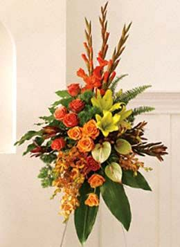 Easel Spray Semi Tropical Flowers With Images Tropical Flower Arrangements Unique Flower Arrangements Sympathy Arrangements