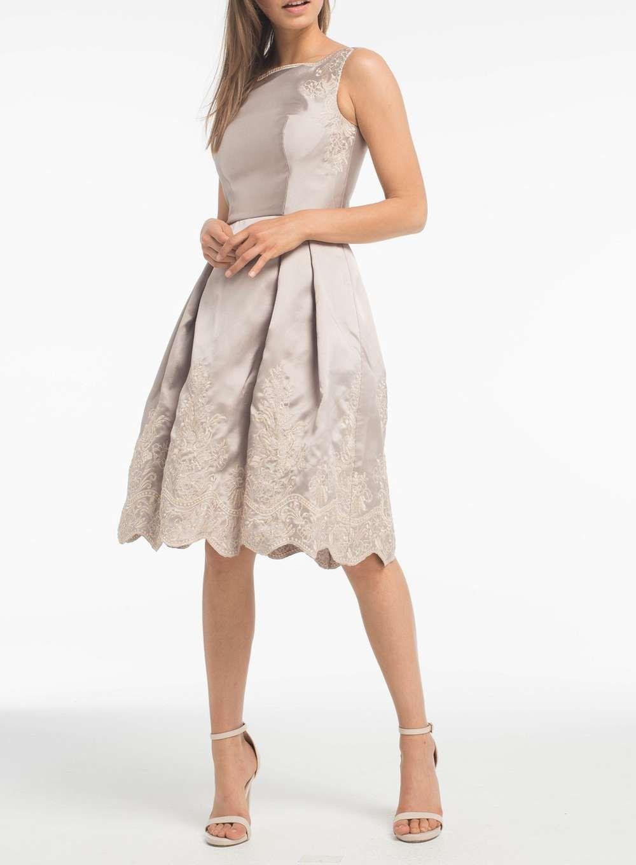 Chi Chi London Brown Embroidered Midi Dress