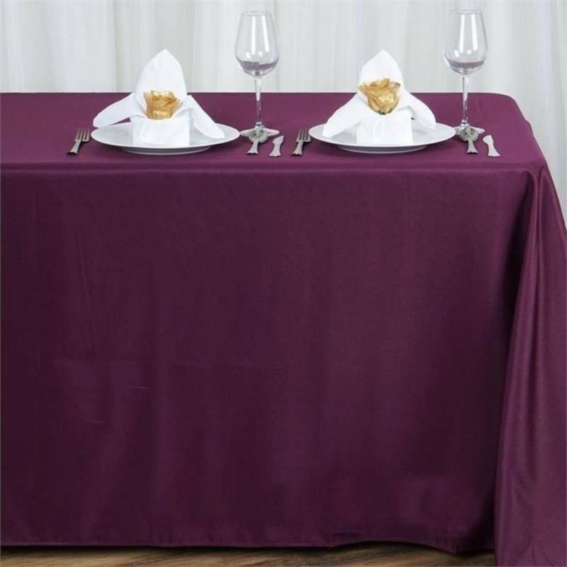 EGGPLANT PURPLE SQUARE PURPLE  TABLECLOTH POLYESTER TABLE CLOTH VARIOUS SIZES