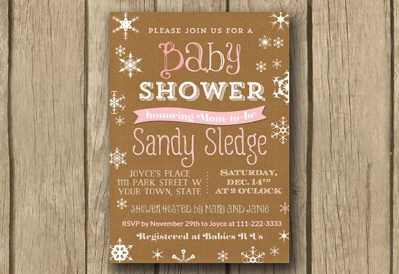 baby girl shower invite rustic typography by DulceGracePrintables, $14.00