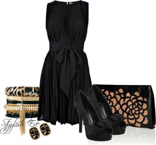 Medium length black full skirt sleeveless dress with tie (bow) at waist, black over brown flower cutout clutch, black high heel peep toe platforms with bows, stacked leopard print, gold, black, and pearl thick bangles with gold chain tassel, and black leopard print stud earrings.
