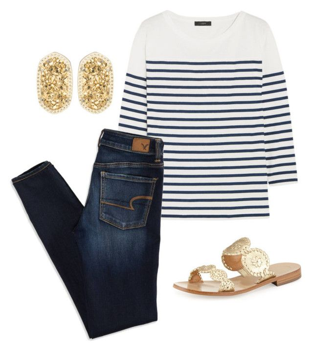 """""""Yay of nay"""" by amlangley ❤ liked on Polyvore featuring Kendra Scott, J.Crew, American Eagle Outfitters and Jack Rogers"""