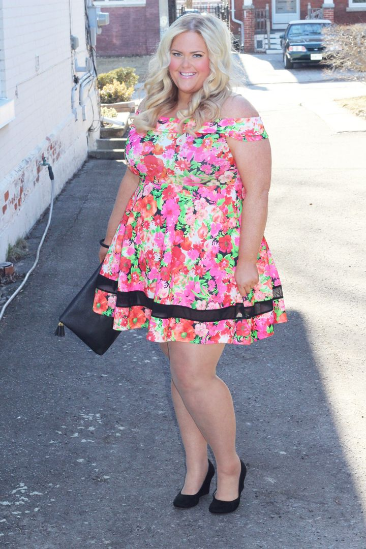 Yours Clothing, Plus Size, Neon Floral Off The Shoulder ...