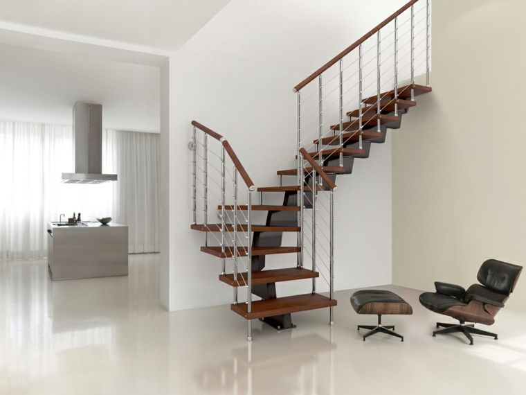 escaleras interiores de metal y de madera para decorar Interiores