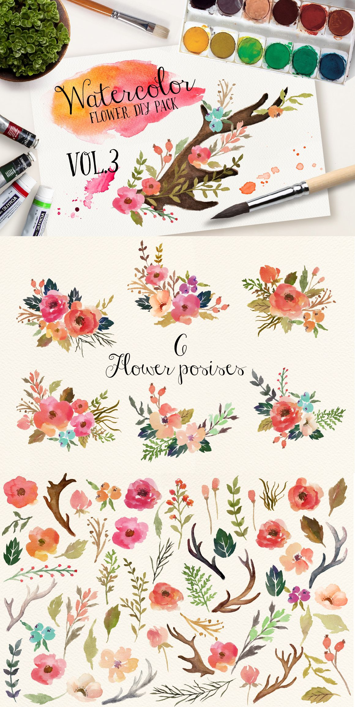 Watercolor flower DIY pack Vol.3 by Graphic Box on ...