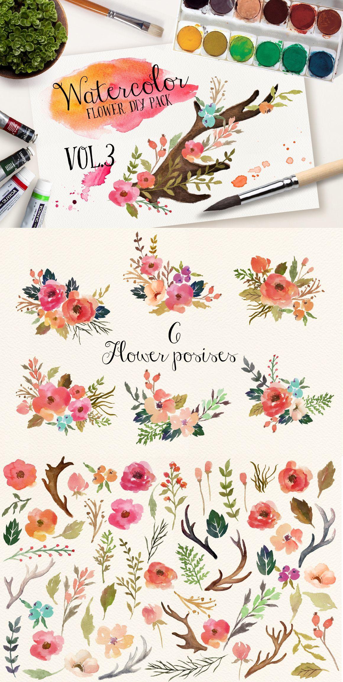 Watercolor flower diy pack vol flower diy watercolor and creative