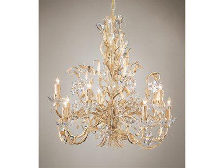 Wildwood Lamps Crystal Flowers Gold White On Iron Lead Bobesche Ten-Light Chandelier