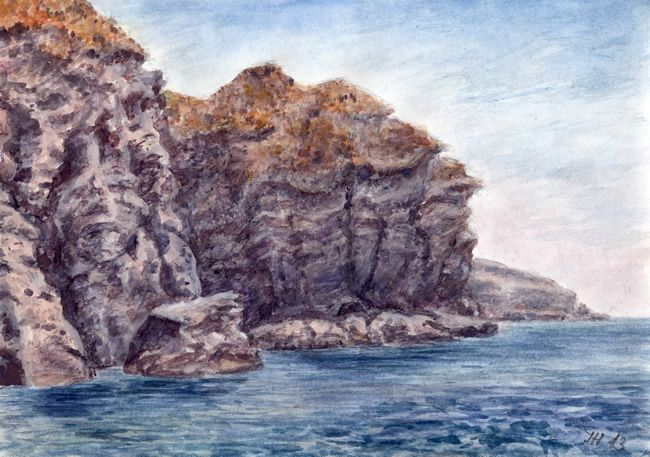 Ischia - rocky coast, watercolor and pastel by Jana Haasová
