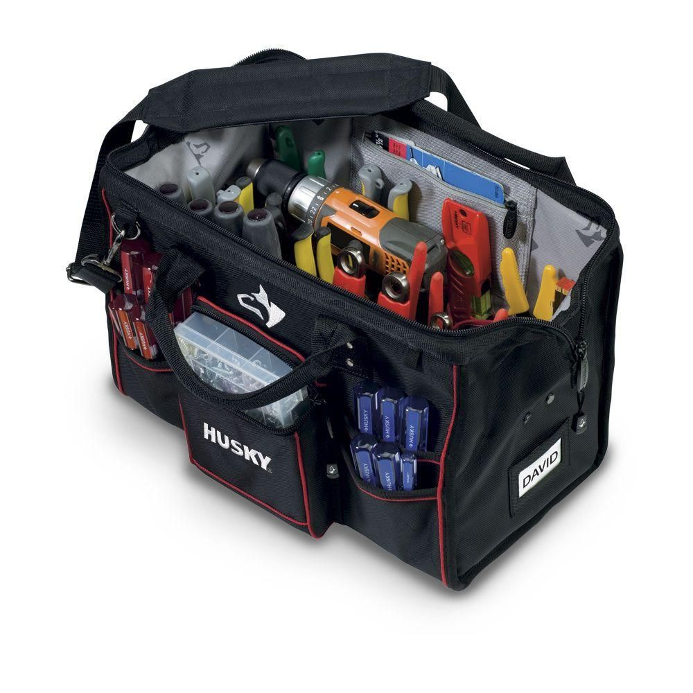 Husky 18 In Large Mouth Bag With Tool Wall 80897n09 At The Home Depot Tool Wall Storage Tool Storage Tool Bag
