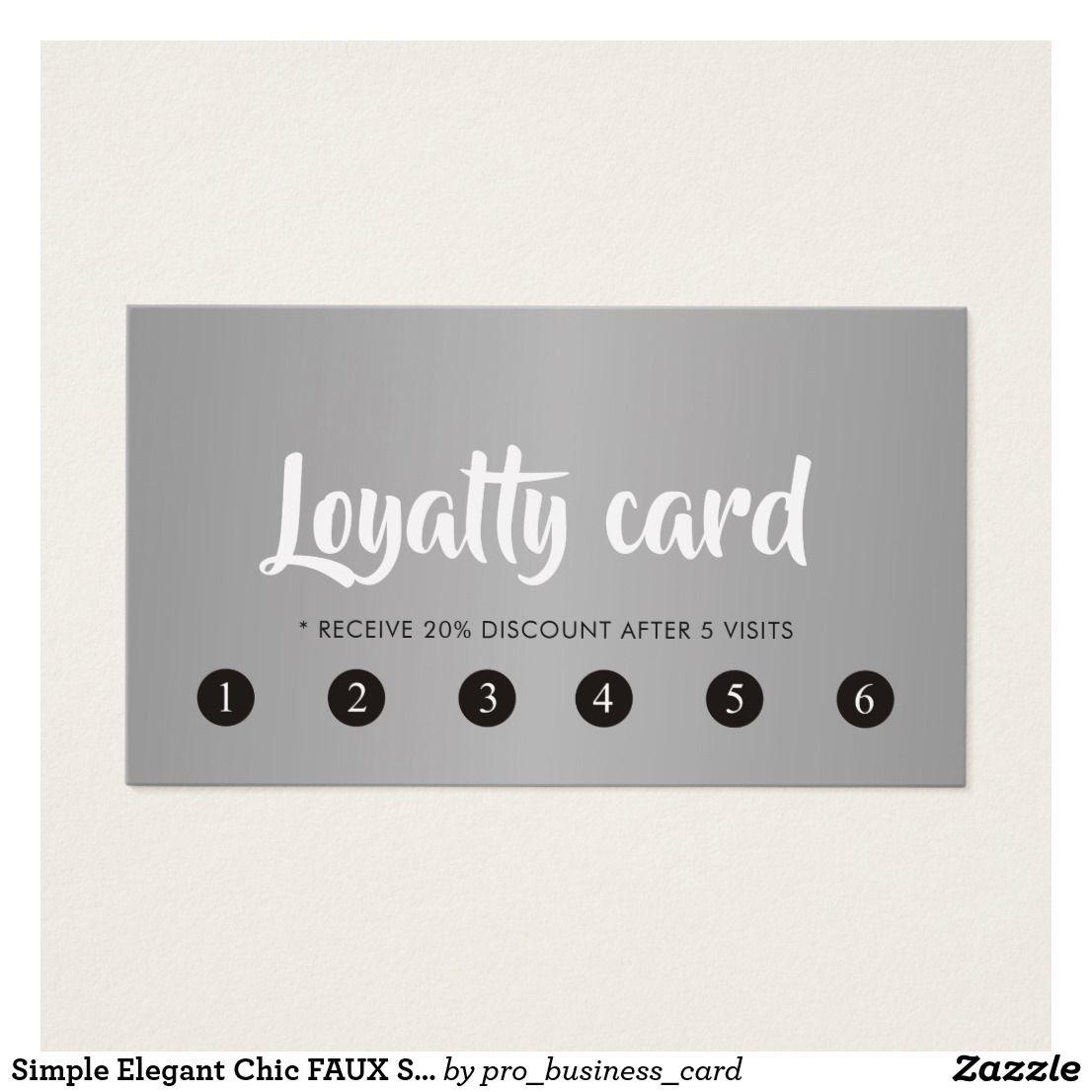 Simple Elegant Chic FAUX Silver Beauty Salon Loyalty Card  Zazzle