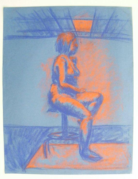 Neon Figure Drawing. 19 by 25. Pastel on lt. by amandamariestudios, $75.00