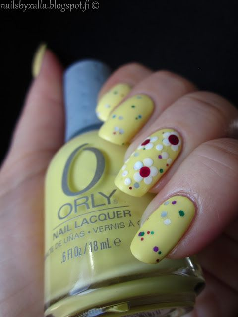 Orly Lemonade, spring nails, flower with dotting tool, glitter sandwich