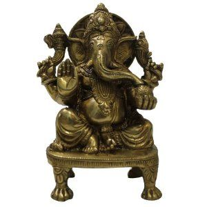 Messing Elefant Lord Ganesha Indien Hindu Gods Statue Religiös Dekor Art 17.8cm