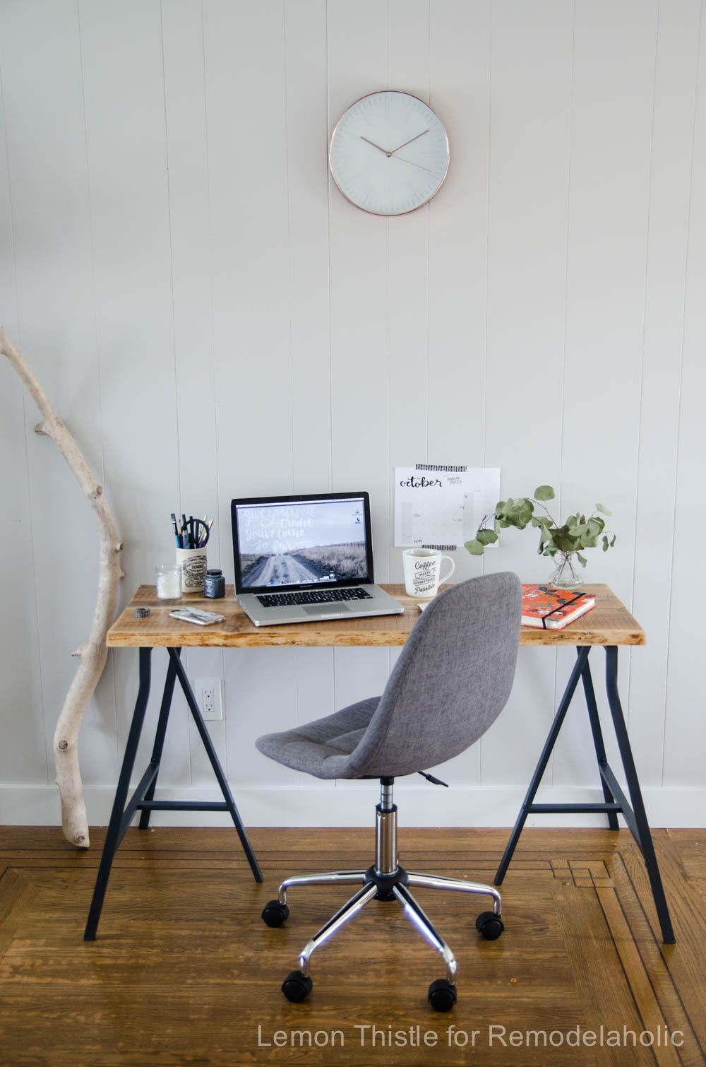 Diy Live Edge Desk With Trestle Legs I Can T Believe It S An Ikea Hack It Looks So Great Live Edge Desk Home Office Furniture Ikea Hack