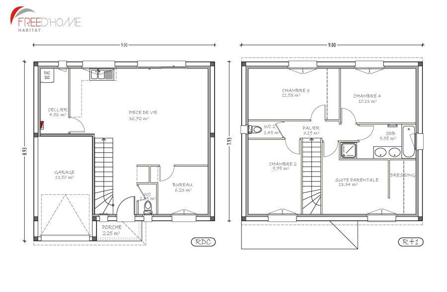 Plan Maison 50M2 Au Sol plan maison r 1 100m2 900 X 589 pixels - Plan De Maison De 100m2 Plein Pied