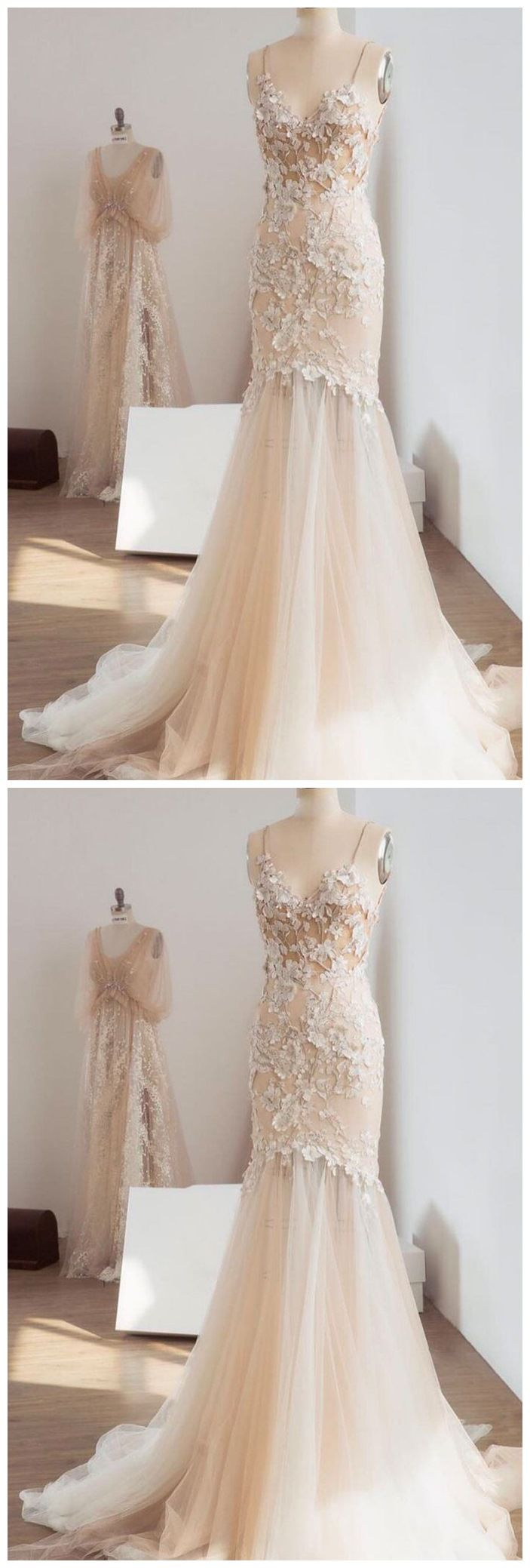Champagne mermaid wedding dresses spaghetti strap lace appliqued